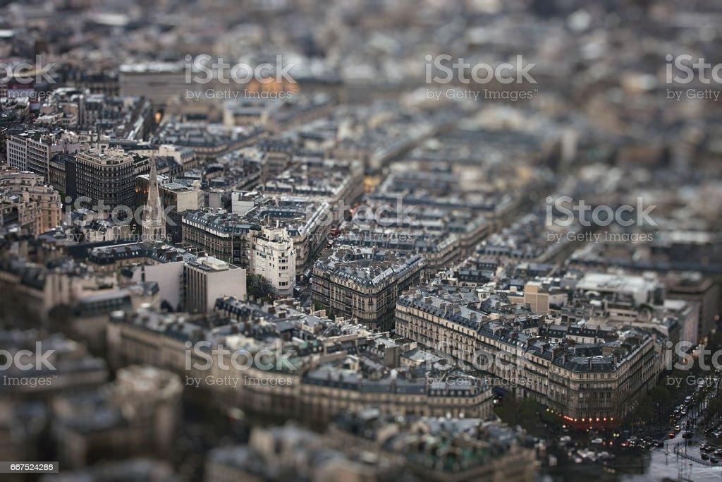 Avenue George V with tilt-shift effect stock photo