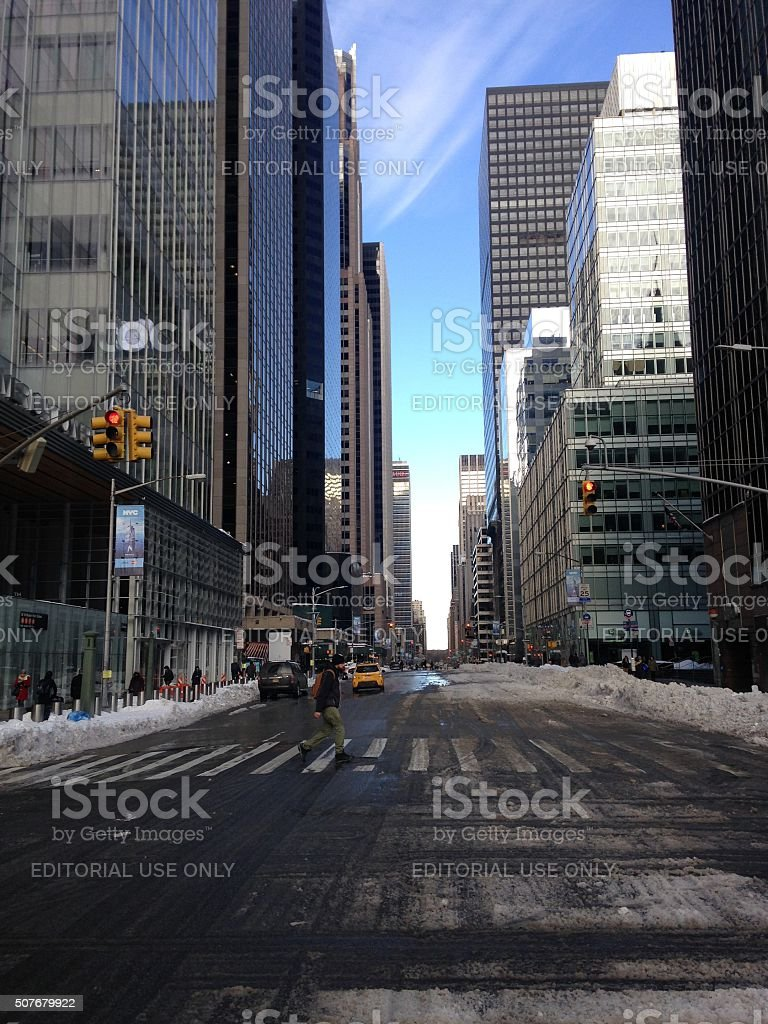 Avenue of the Americas (6th Avenue) in Snow in Manhattan. stock photo