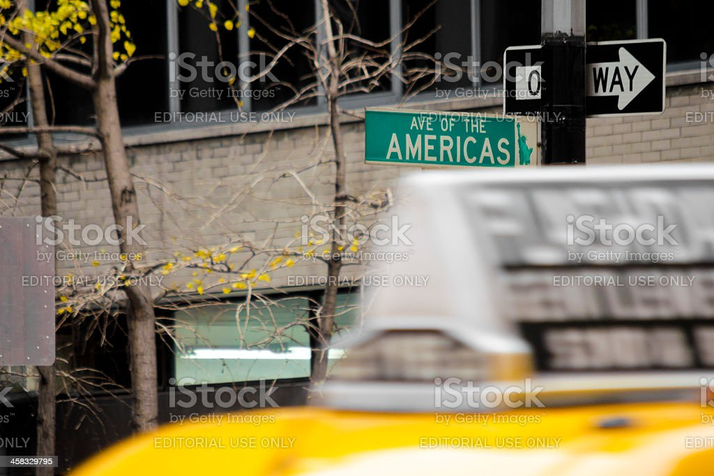 Avenue Of The Americas Sign, New York City Taxi royalty-free stock photo