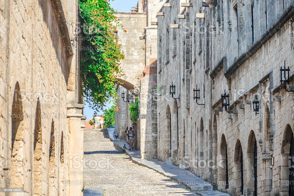 Avenue of the Knights in Rhodes, Greece stock photo
