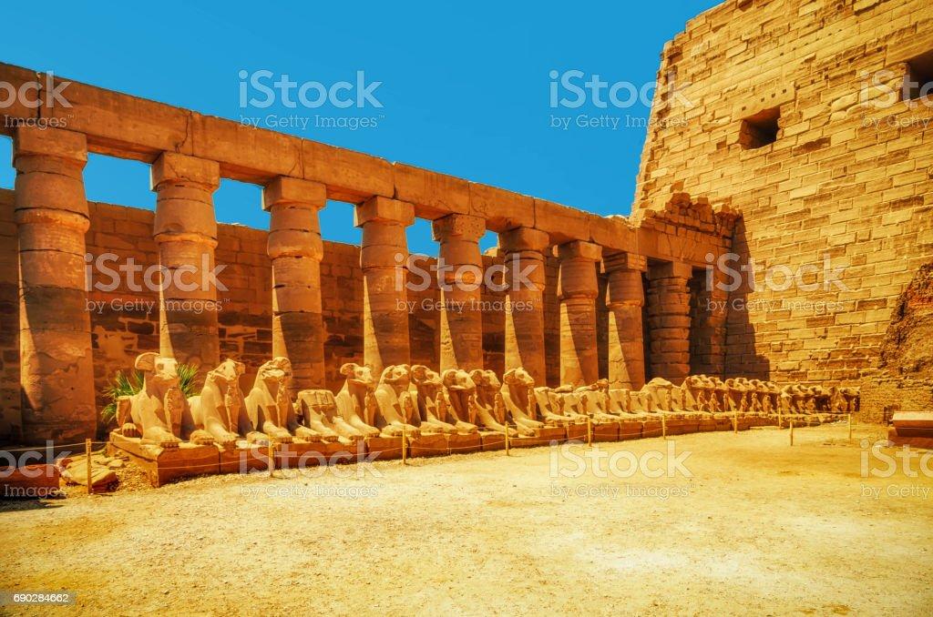 Avenue of the ram-headed Sphinxes. Karnak Temple. Luxor, Egypt stock photo