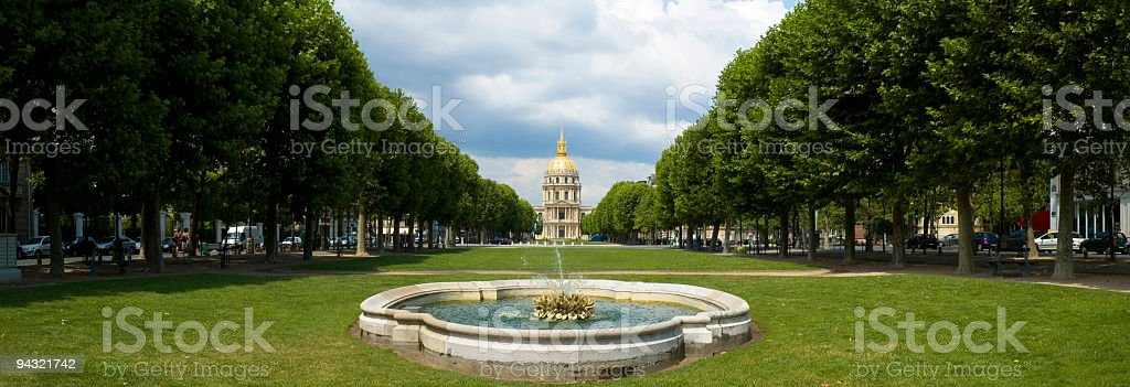 Avenues and fountain, Paris stock photo