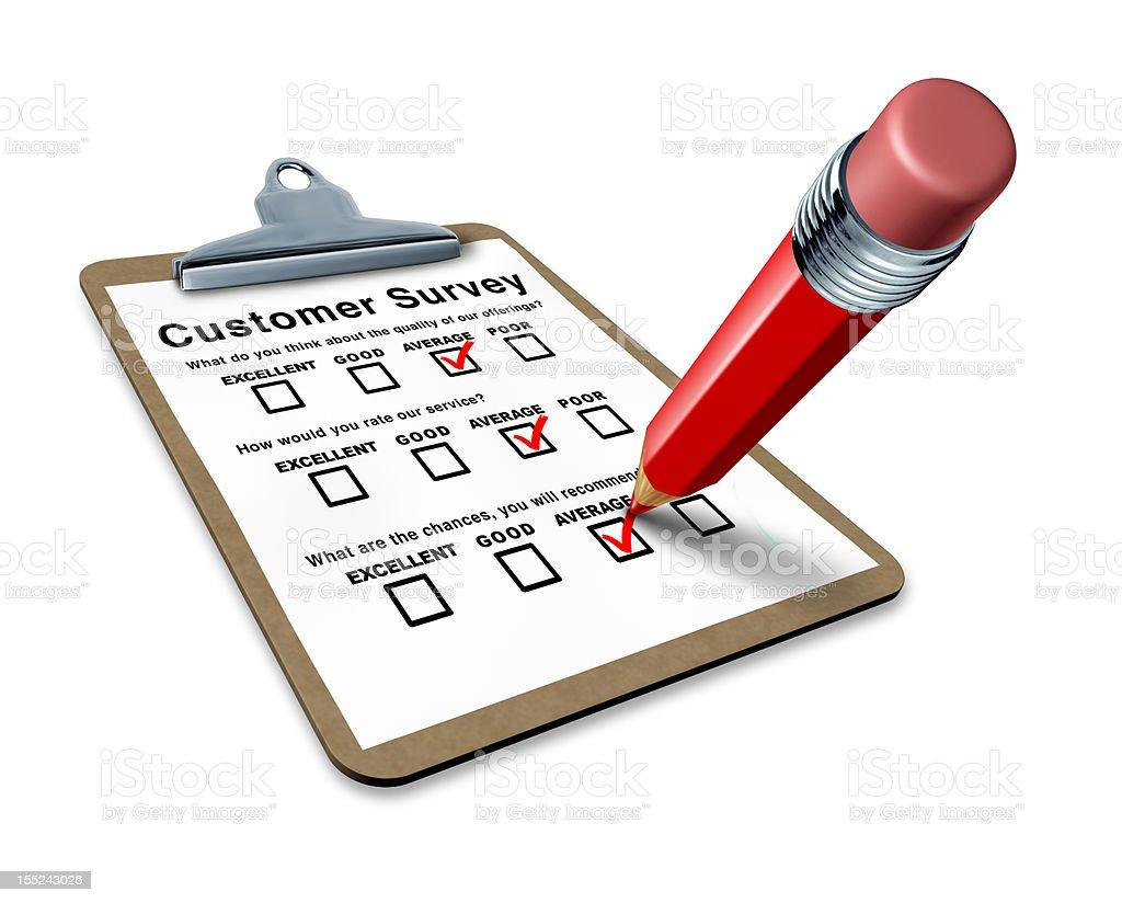 average customer survey on a clipboard royalty-free stock photo