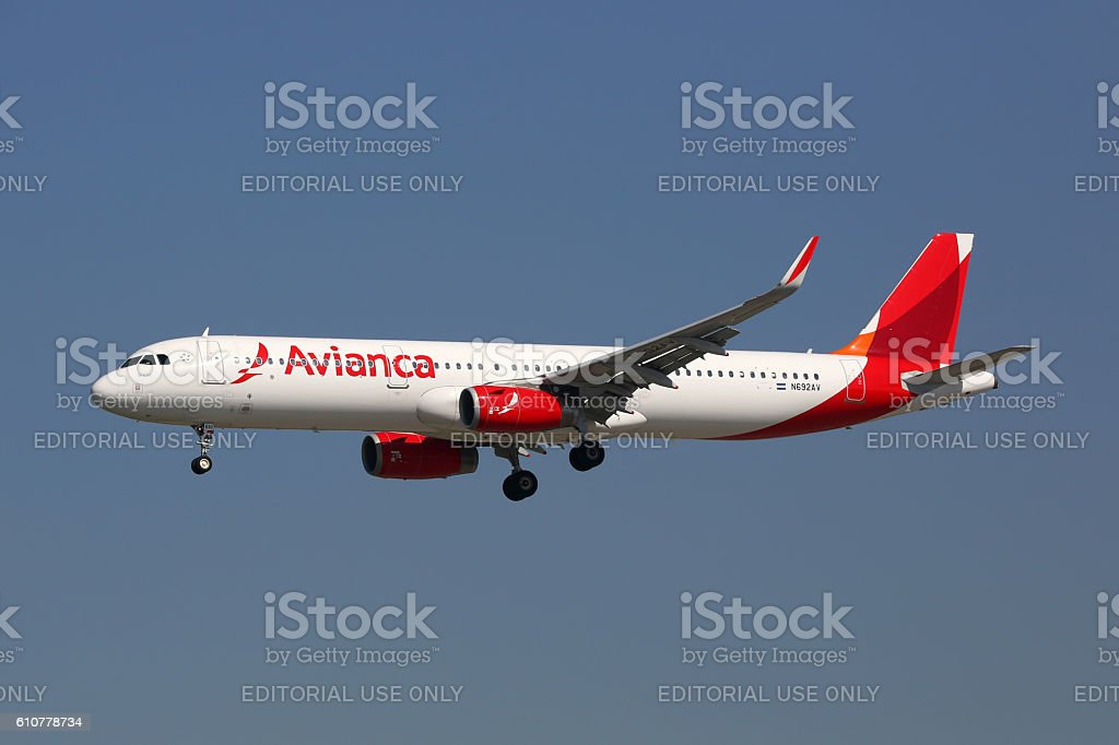 Avianca Airbus A321 airplane stock photo
