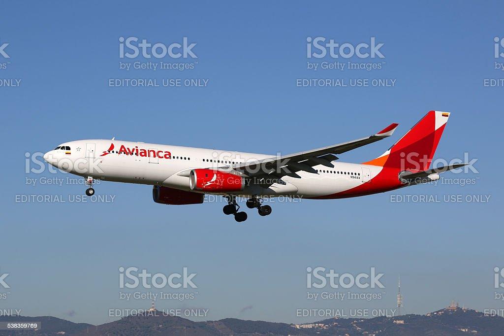Avianca Airbus A330-200 airplane stock photo