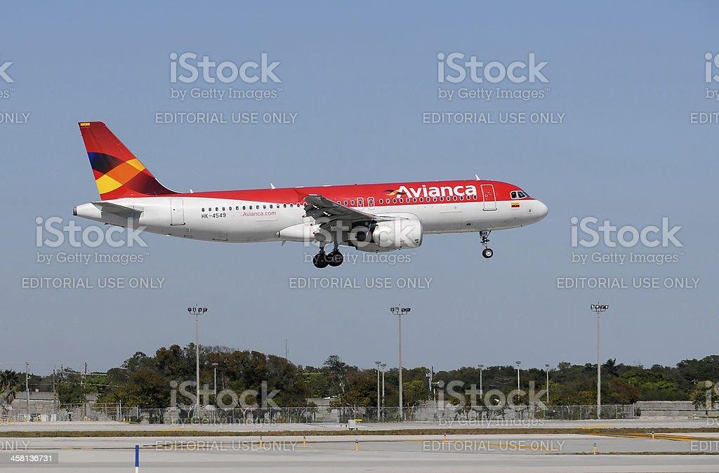 Avianca passenger jet landing royalty-free stock photo