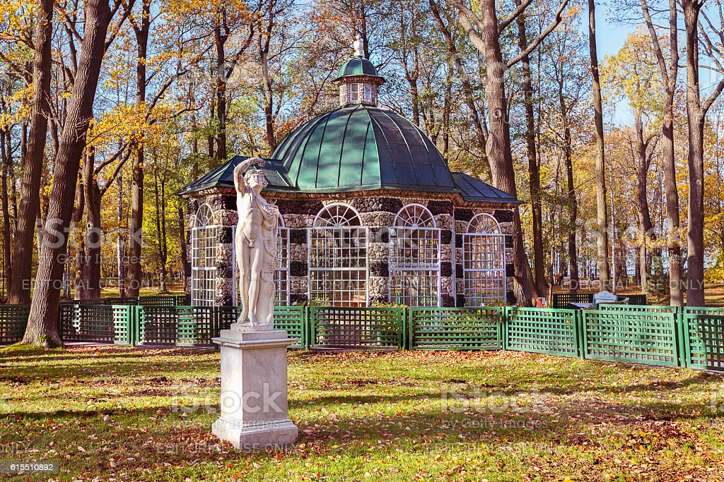 Aviary Pavilion and sculpture in Peterhof (suburb of St. Petersb stock photo