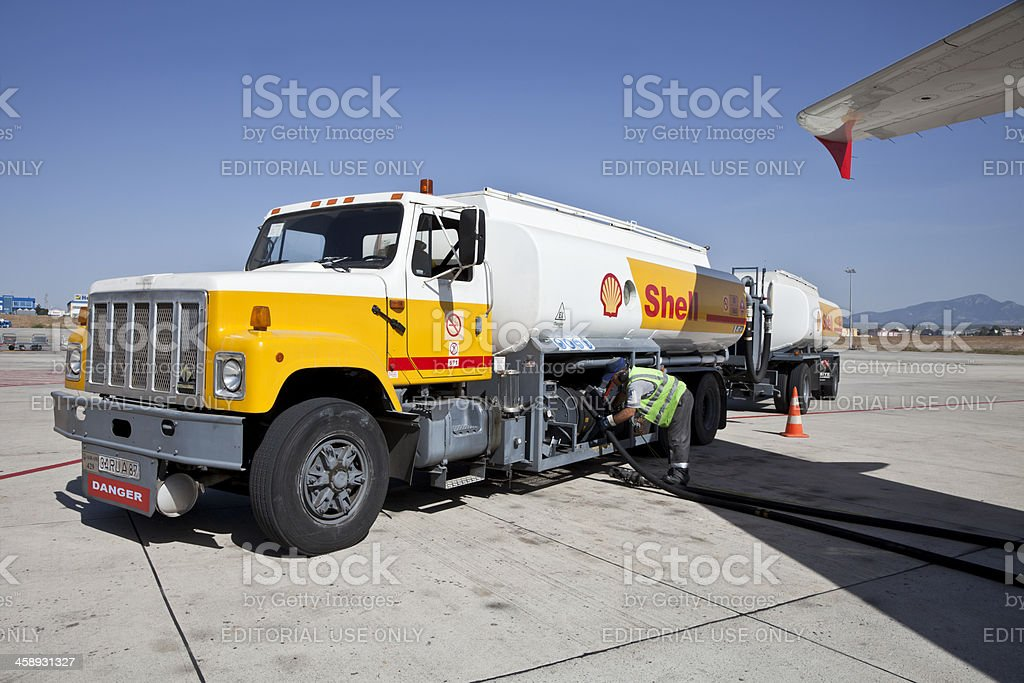Aviation fuel truck royalty-free stock photo