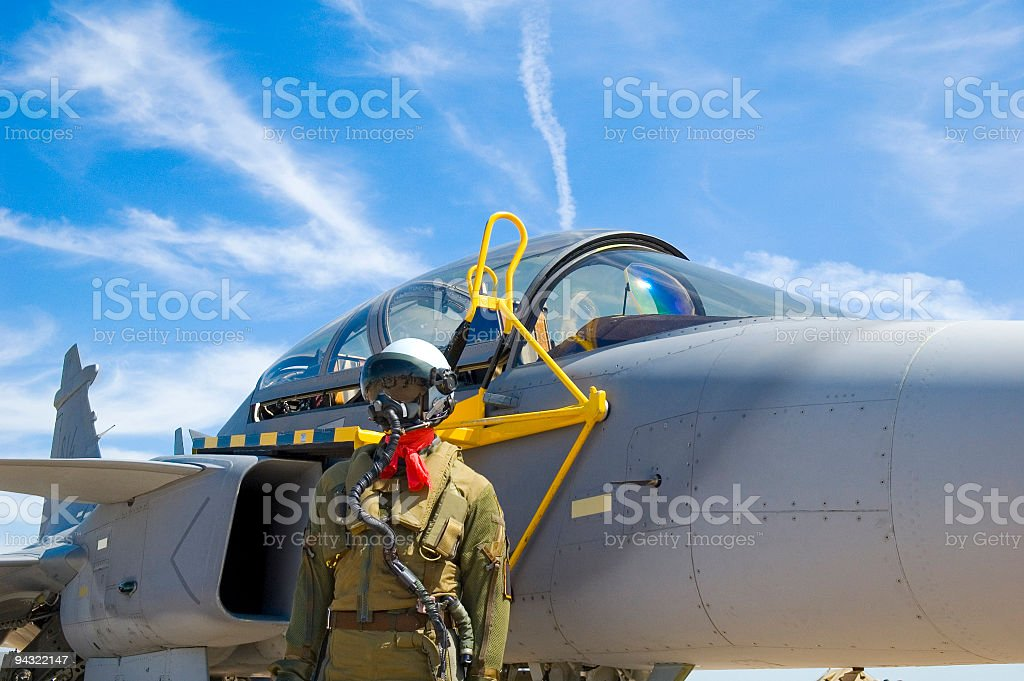 Aviator and aircraft royalty-free stock photo