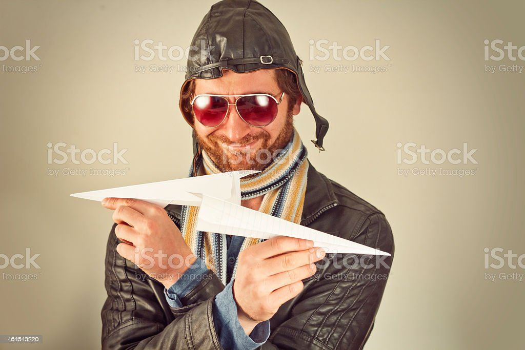 Aviator Man Paper Plane stock photo
