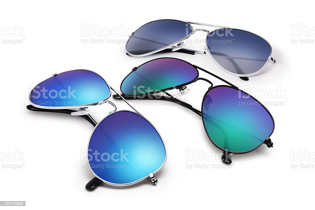 aviator sunglasses isolated on white background with blue mirror stock photo