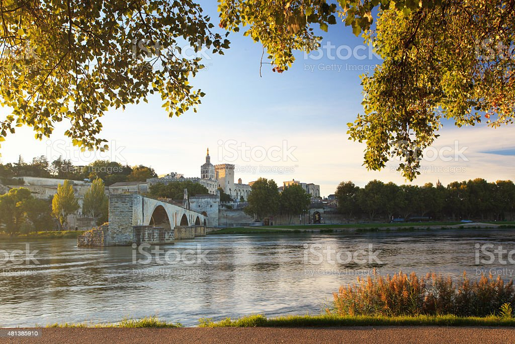 Avignon Bridge with Pope's Palace and Rhone river, Provence, France stock photo