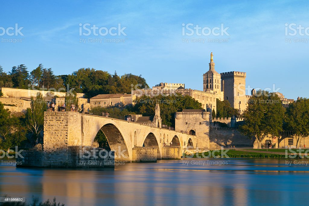 Avignon Bridge with Popes Palace and Rhone river, Provence, France stock photo