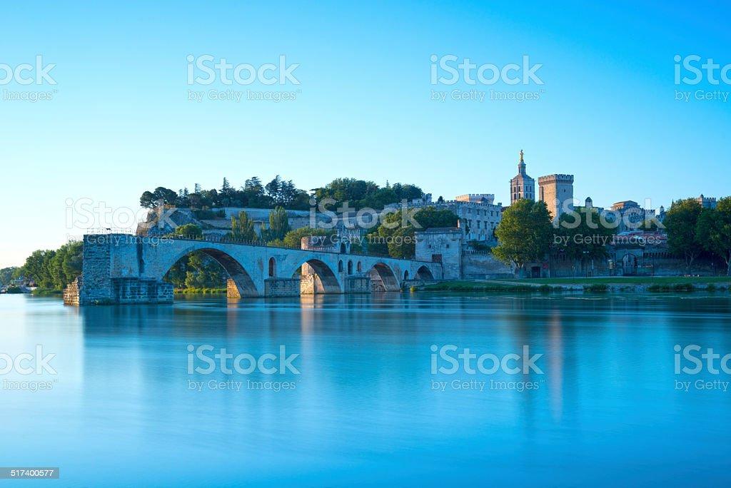 Avignon Bridge with Popes Palace stock photo