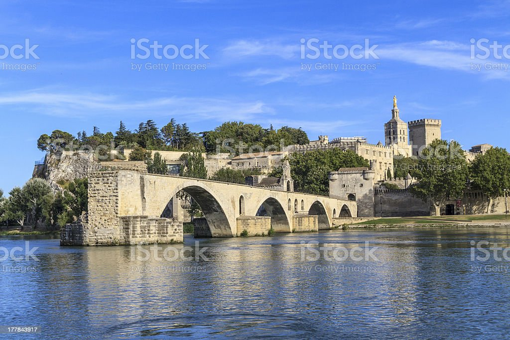 'Avignon Bridge with Popes Palace, Pont Saint-Benezet, Provence' stock photo