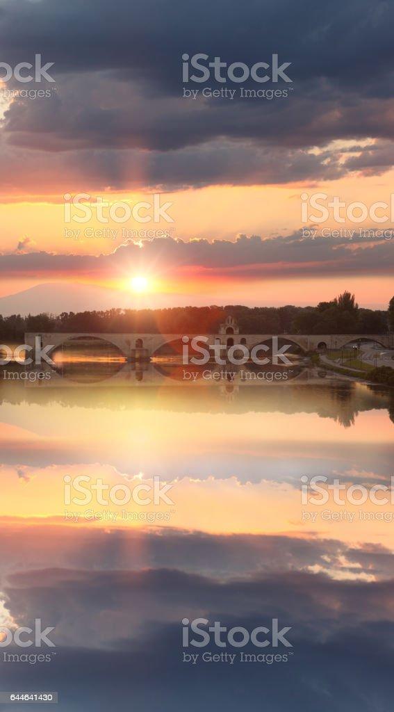 Avignon Bridge with Rhone river at sunset, Pont Saint-Benezet, Provence, France stock photo