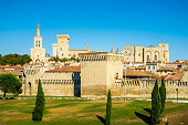 Avignon city center with city wall and cathedral