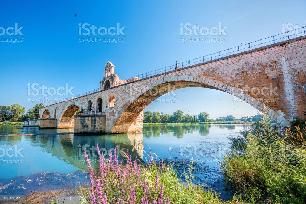Avignon old bridge in Provence, France stock photo