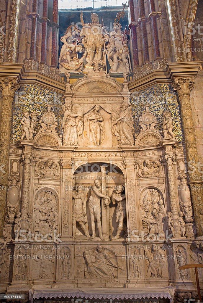 Avila - altar in sacristy of Catedral de Cristo Salvador stock photo