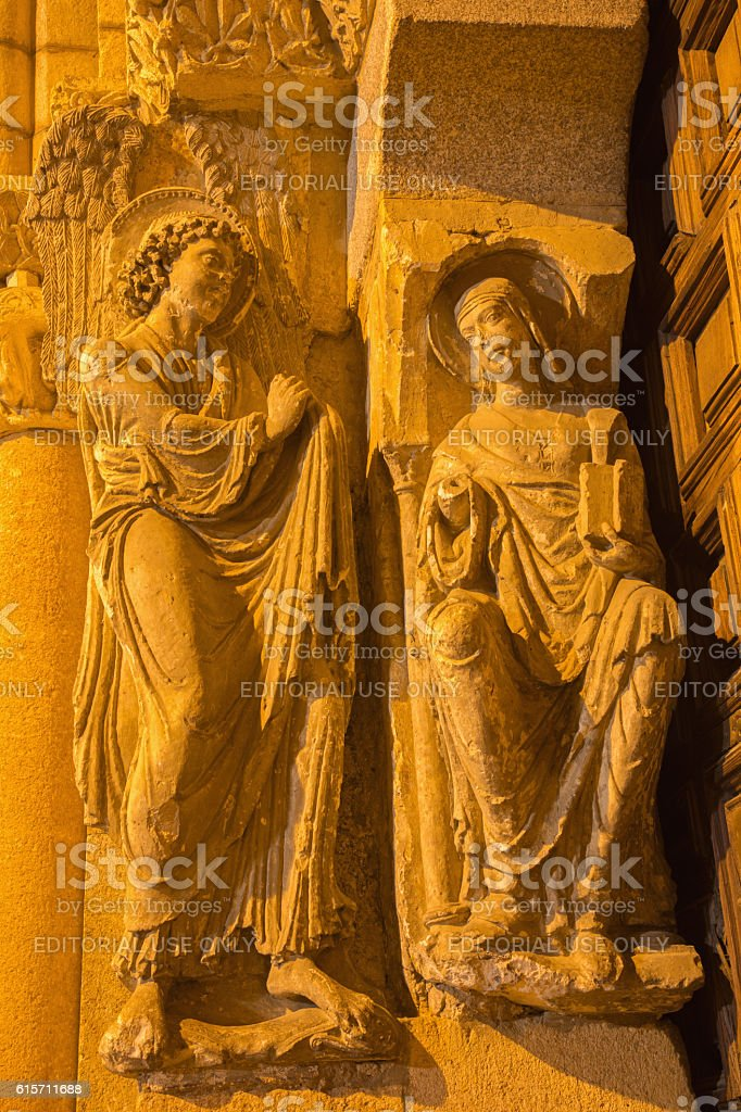Avila - Annunciation sculpture - Basilica de San Vicente stock photo