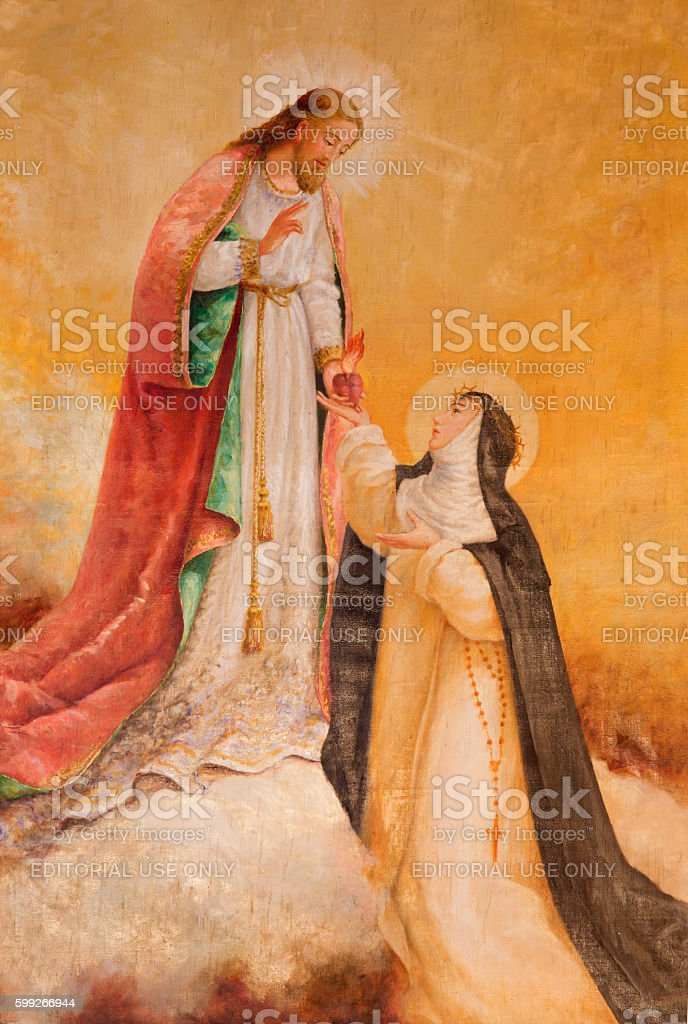 Avila - Apparition of Jesus to St. Theresia of Avila stock photo