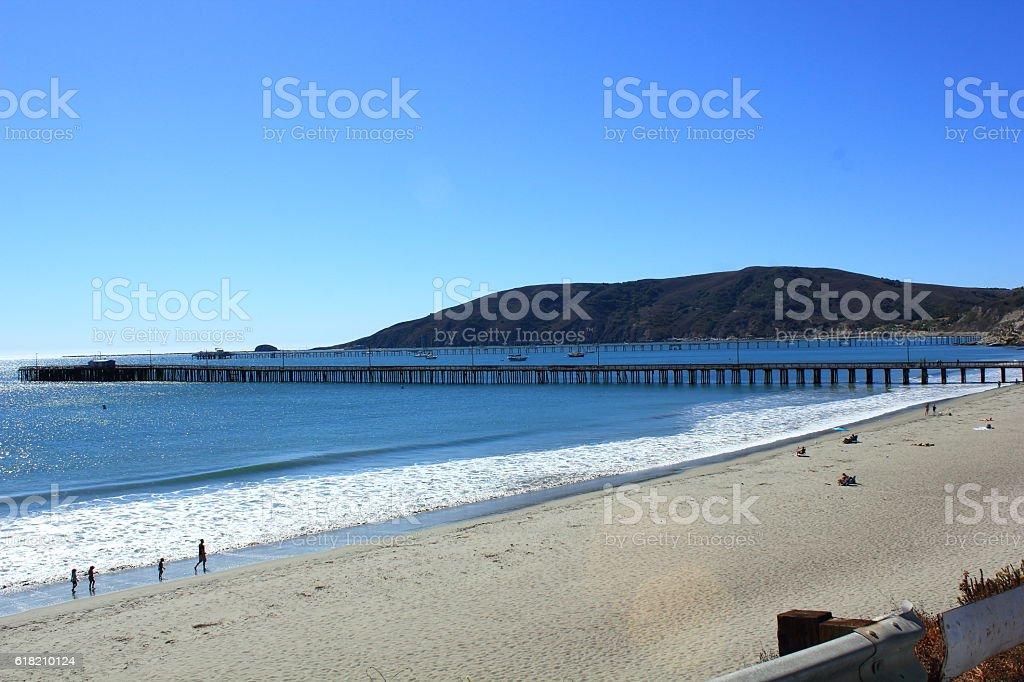 Avila Beach and Pier stock photo