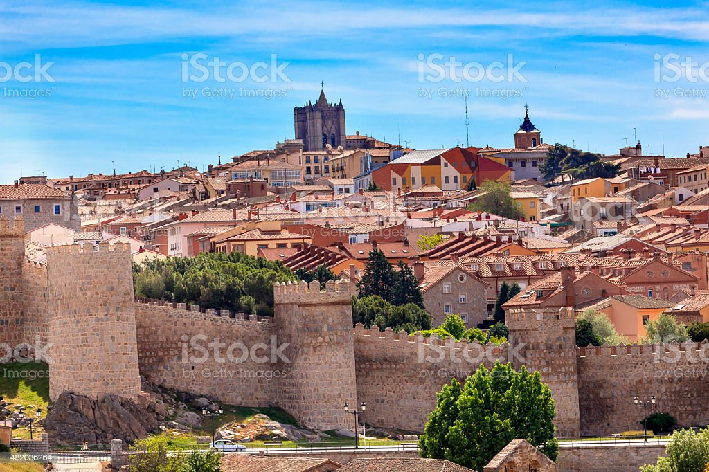 Avila Castle Walls Ancient Medieval City Castile Spain stock photo