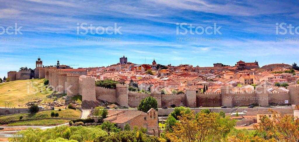 Avila Castle Walls Ancient Medieval City Cityscape Castile Spain stock photo