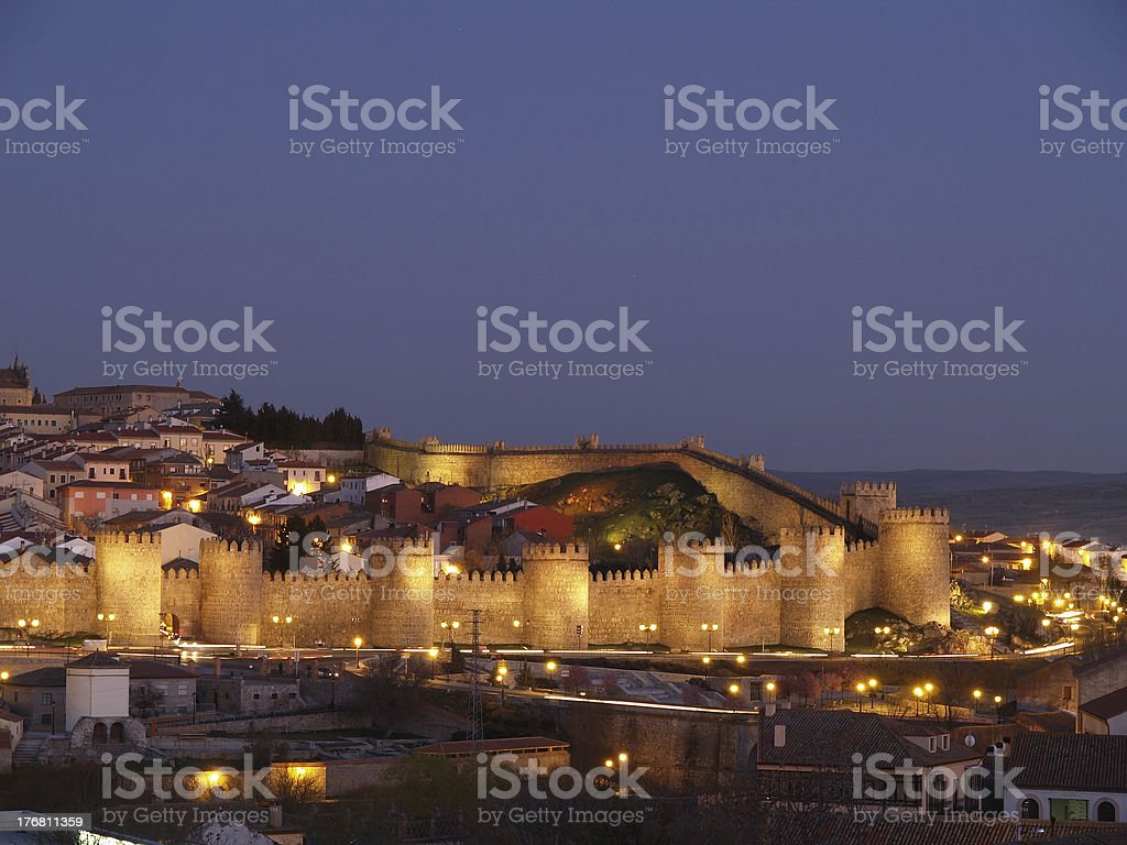 Avila city at dusk stock photo