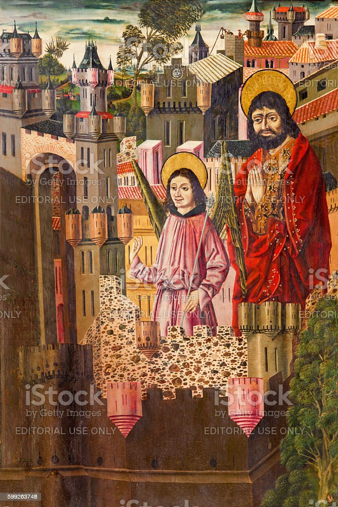 Avila - Liberation Of Saint Peter from Prison cicle painting stock photo