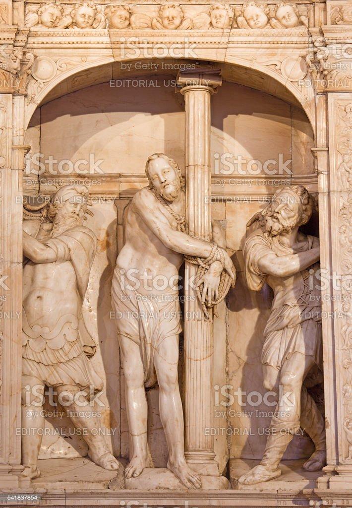 Avila - marble sculpture of Flagellation of Christ stock photo