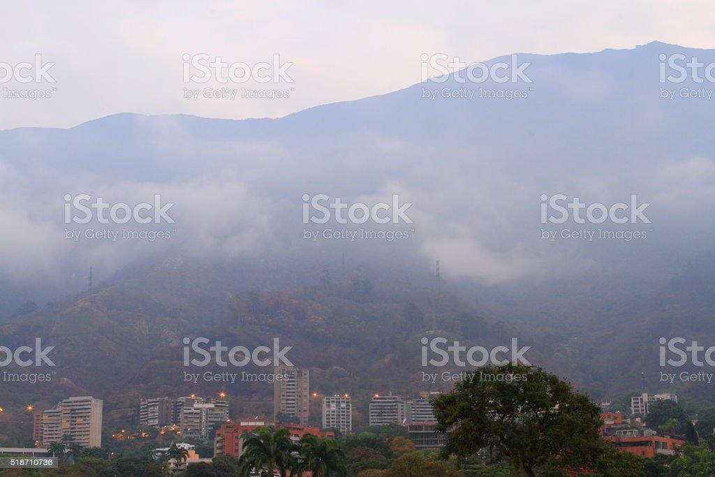 Avila Mountain Ealy Morning with Fog stock photo