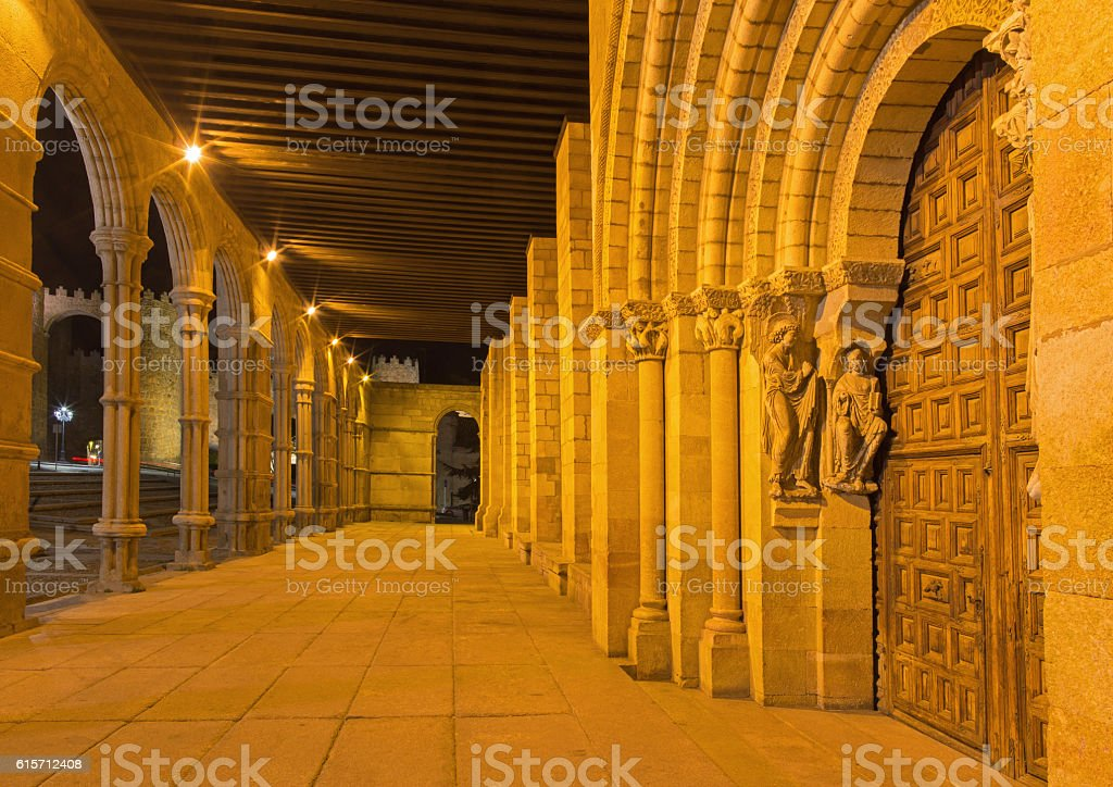 Avila -  portal of Basilica de San Vicente stock photo