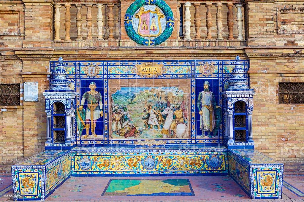 Avila Province, Glazed tiles bench at Spain Square, Seville stock photo