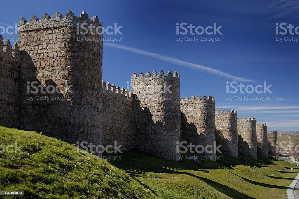 Avila, spain, wall and towers stock photo