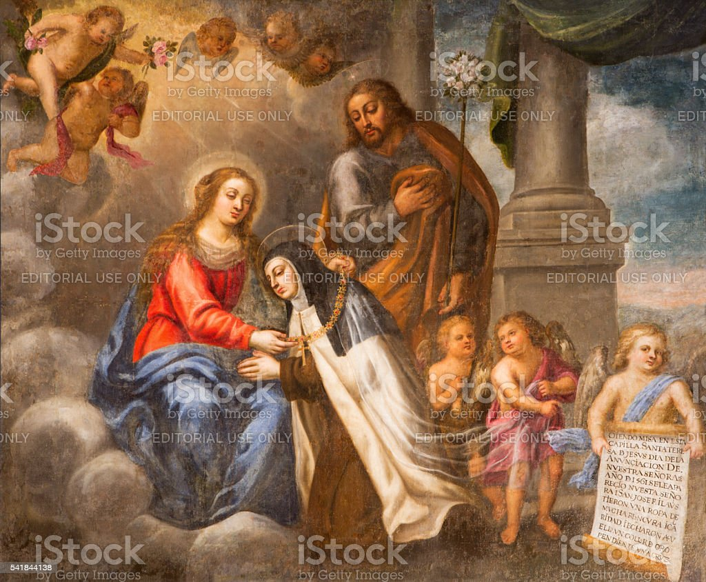 Avila - St. Theresia with Virgin Mary and st. Joseph stock photo