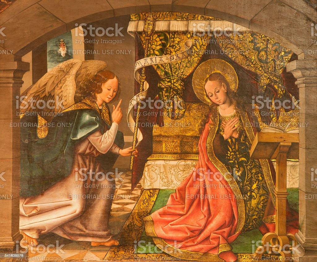 Avila - The Annunciation painting on the wood in Catedral stock photo
