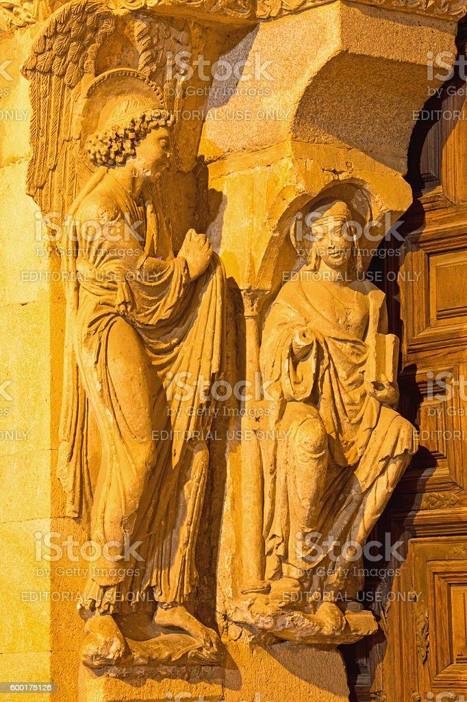 Avila - The Annunciation sulptuere on Basilica de San Vicente stock photo