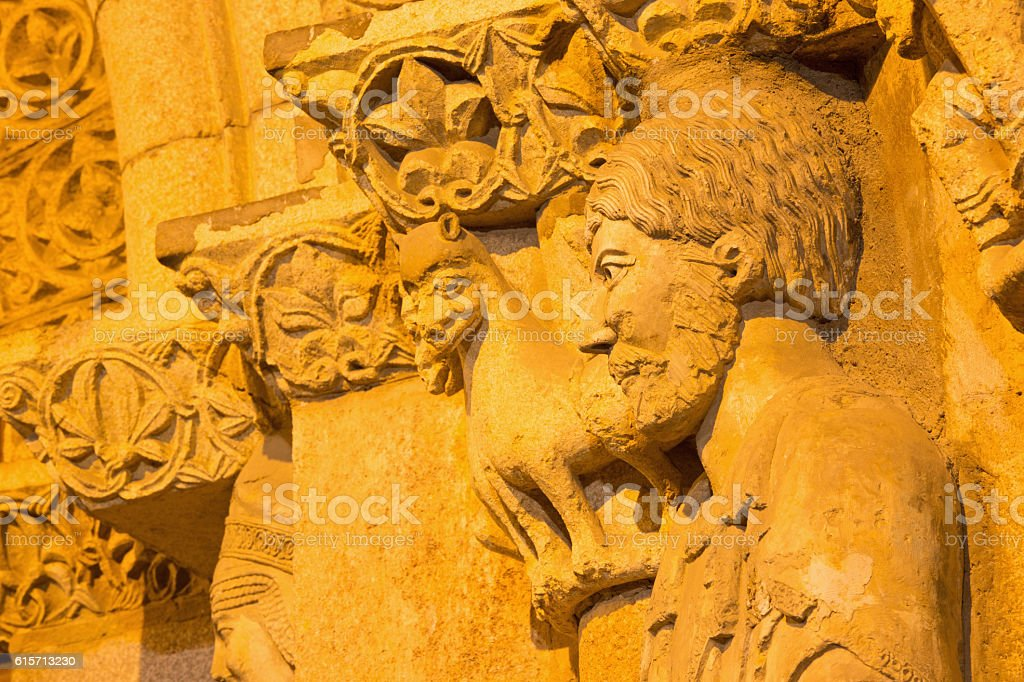 Avila - The detail of the romanesque portal stock photo