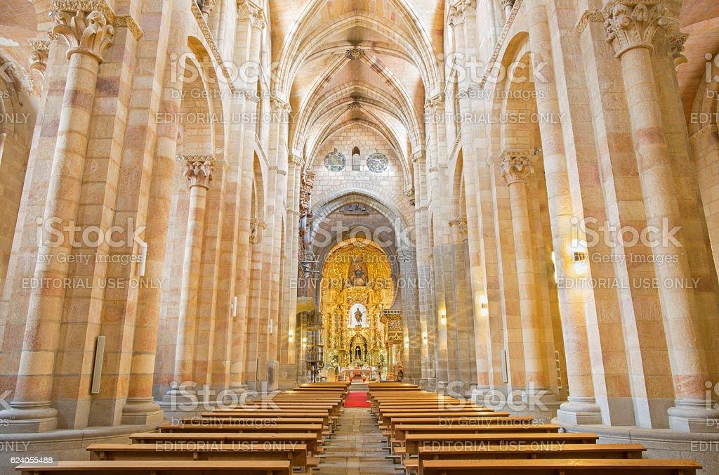 Avila - The nave of Basilica de San Vicente stock photo