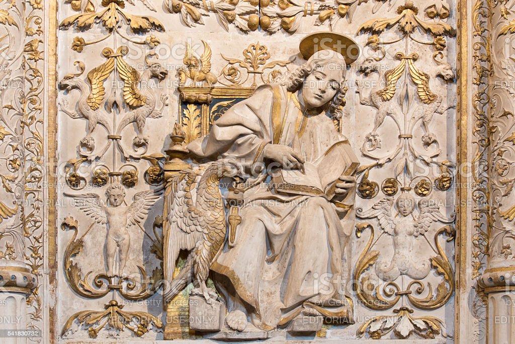 Avila - The relief of St. John the Evangelist stock photo