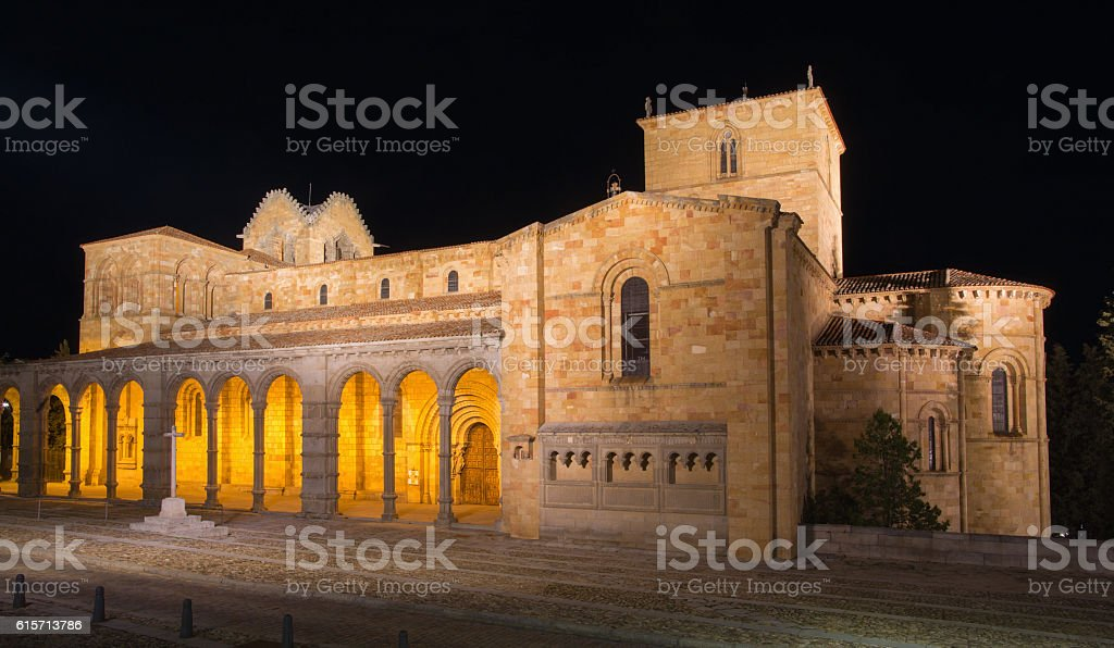 Avila - The romanesque Basilica de San Vicente at night. stock photo