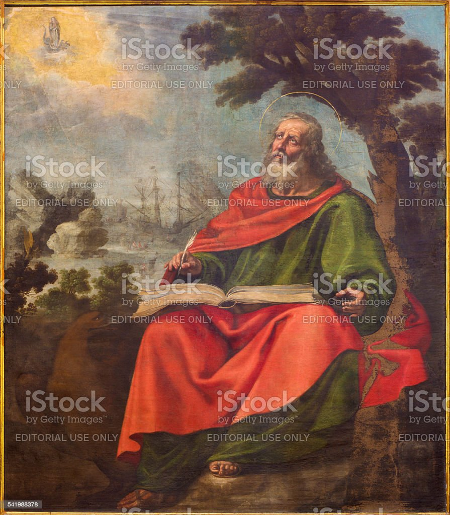 Avila - Vision of St. John the Evangelis paint stock photo