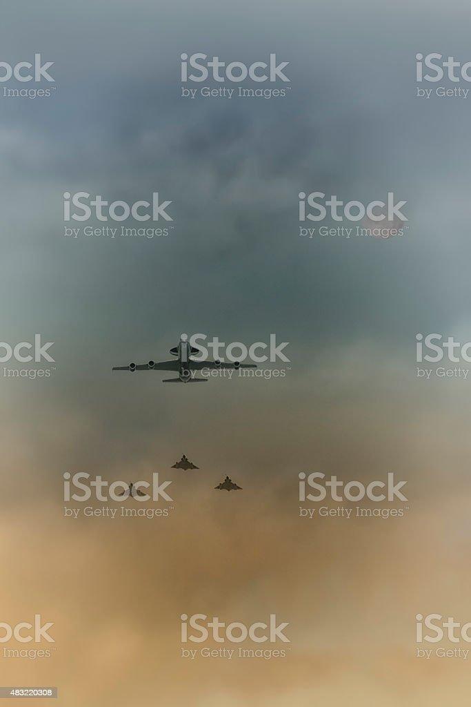 Avion Awacs escort? stock photo