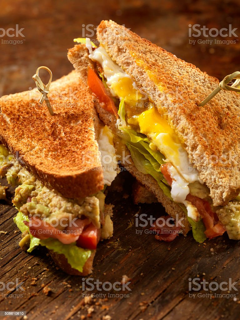 Avocado and Egg, BLT Sandwich stock photo