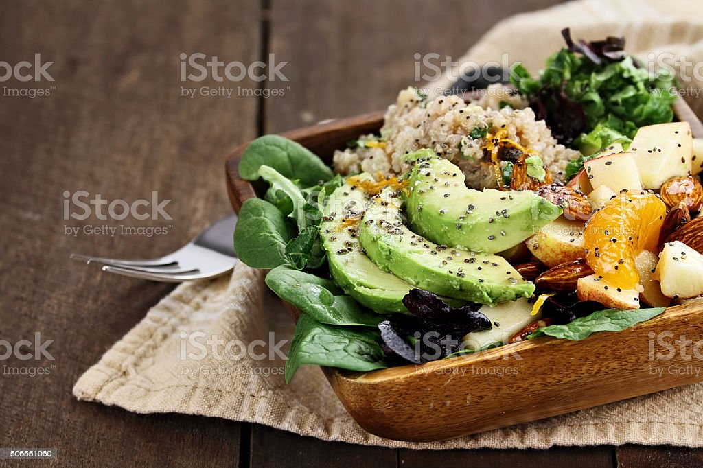 Avocado and Quinoa Salad with Chia Seed stock photo