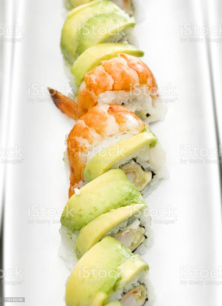 Avocado and shrimps sushi rolls royalty-free stock photo