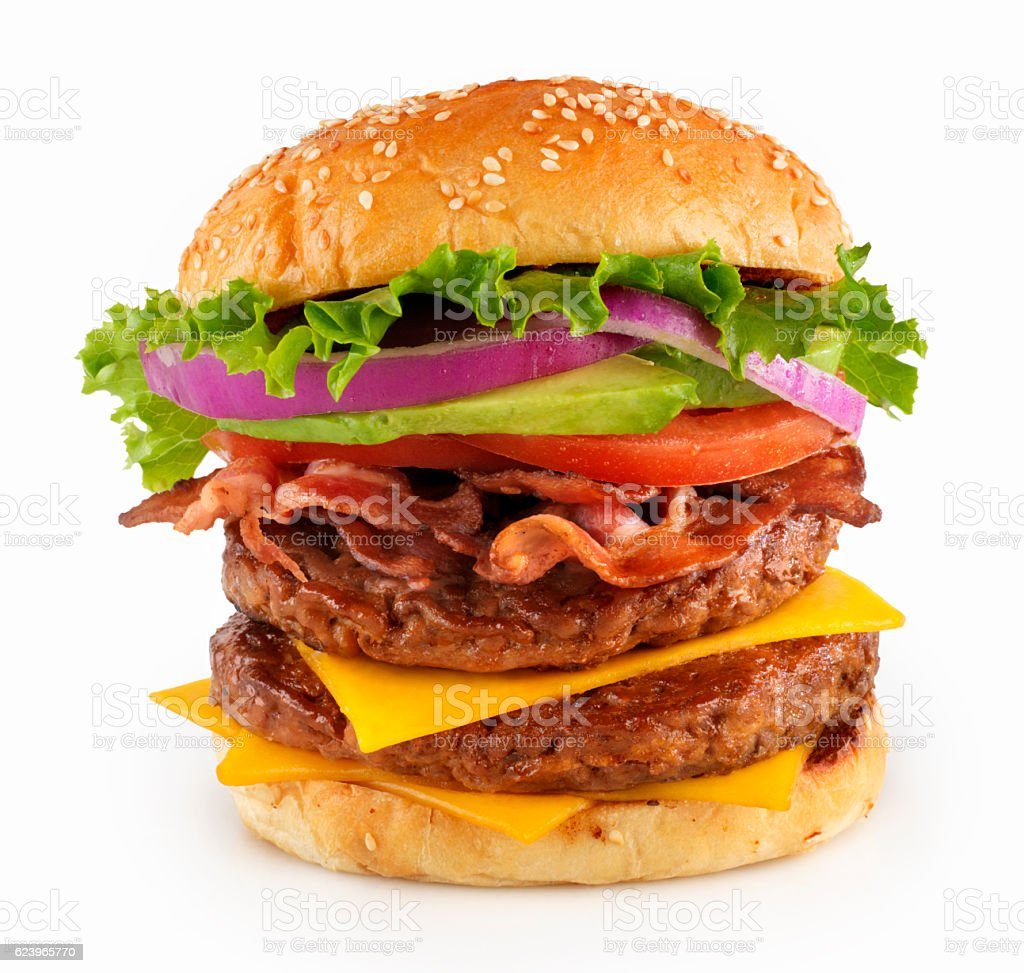Avocado, Bacon Double Cheeseburger stock photo