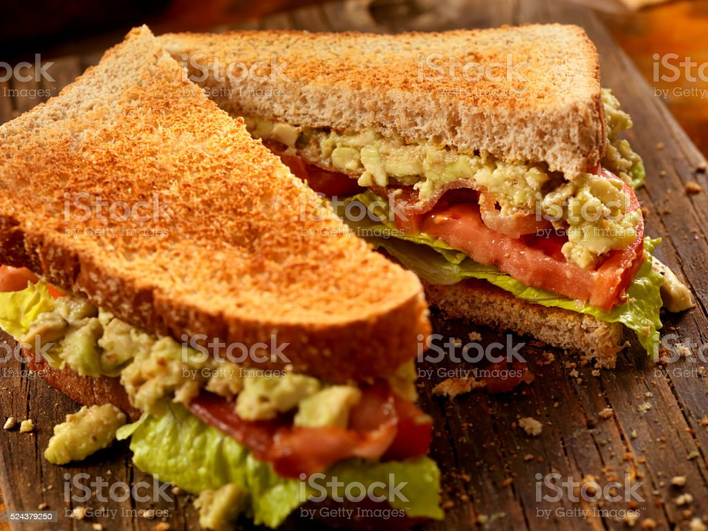 Avocado, BLT Sandwich stock photo