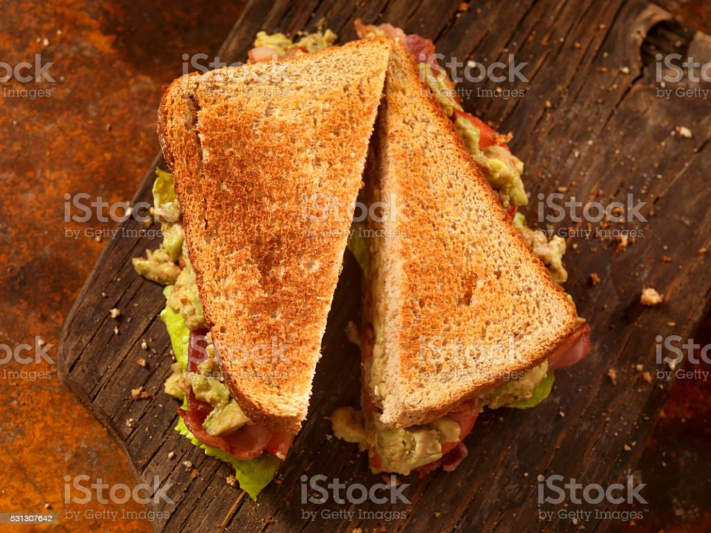 Avocado, BLT Sandwich stock photo